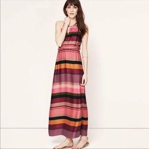 NWT Loft Multi Color Striped Maxi Keyhole Dress